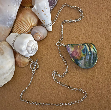 """Positivity, Prosperity & Insight"" Multicolor Teardrop Shell Necklace"