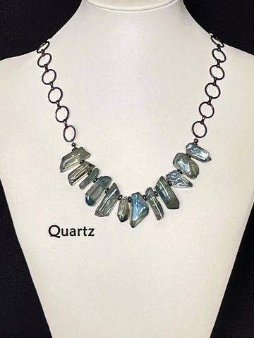"""Healing, Happiness & Peace"" Quartz Crystal Collar Necklace"