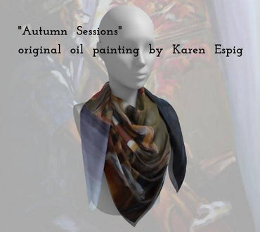 "Square Scarf - ""Autumn Sessions"" - !00% silk or poly chiffon, 2 sizes available"