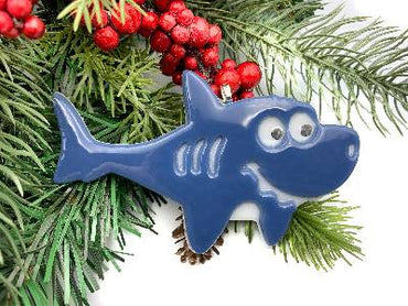 Fused Glass Shark Christmas Ornament, Baby Shark Ornament, Shark Gifts for Boys, Stained Glass Holiday Decor