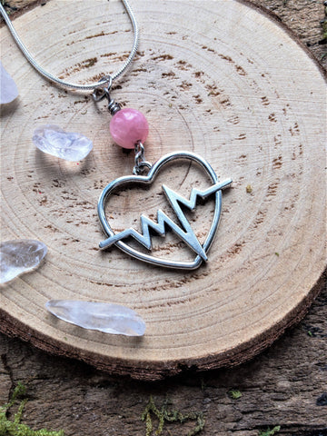 Pink Opal Heartbeat Necklace, Heart Gemstone Necklace