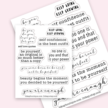 Self love motivational quote stickers