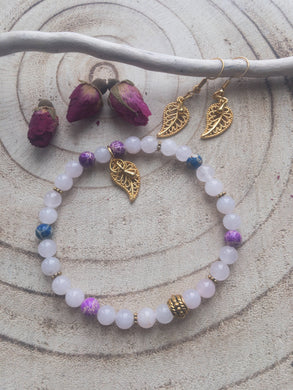 Rose Quartz and Jasper Healing Bracelet, Leaf Charm Bracelet and Earrings