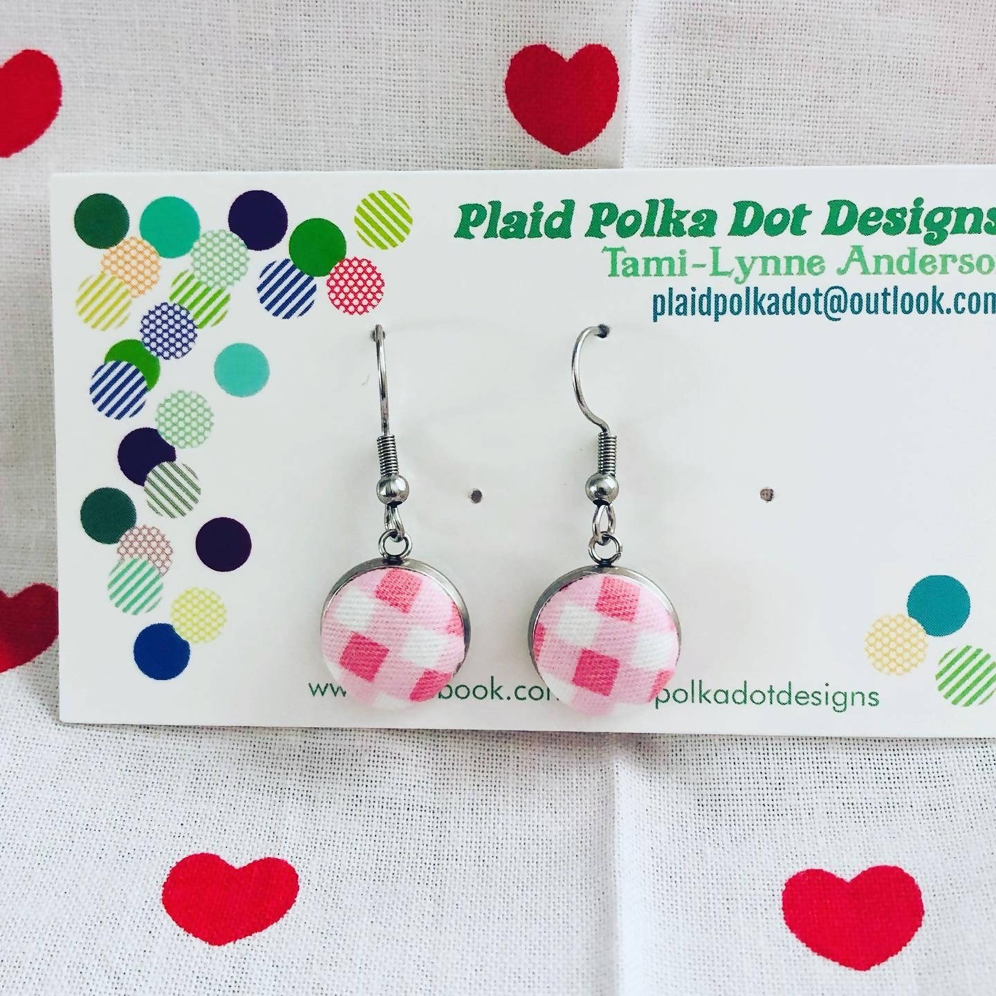 Pink & White Gingham Valentine Earrings