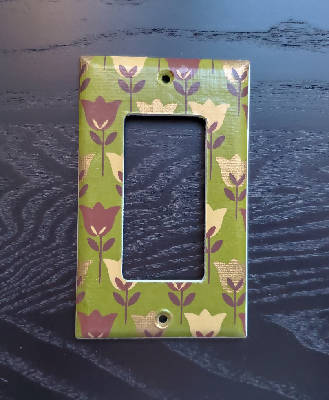 Fancy Handmade Light Switch Cover - Gold & Brown Tulips on Green
