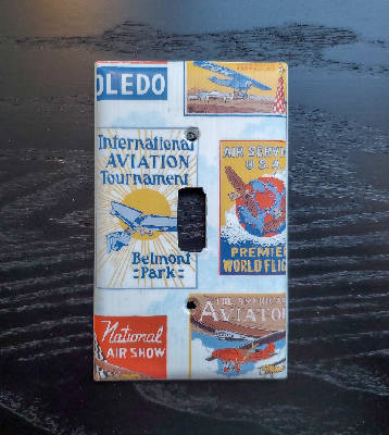 Fancy Handmade Light Switch Cover - Vintage Wallpaper Aviation