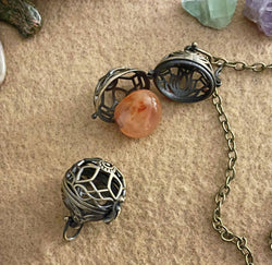 """Carry Your Crystal With You"" Crystal Cage Pendant"