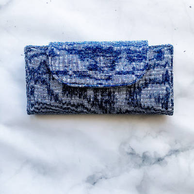 Slimline Wallet - Essex Linen - Denim Blue