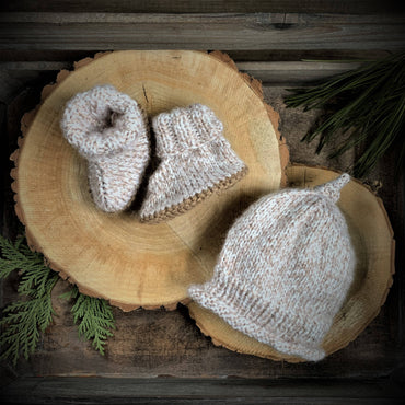 GRAMMY KNITS BEANIE AND BOOTIES - CREAM/TAN