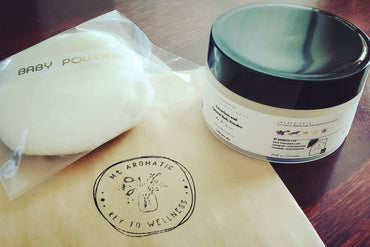 Luxurious Natural Body Powder, Dusting Powder (with Soft Puff) -Lavender/Citrus Scented -Absorb moisture, Refreshing -Talc Free, Vegan