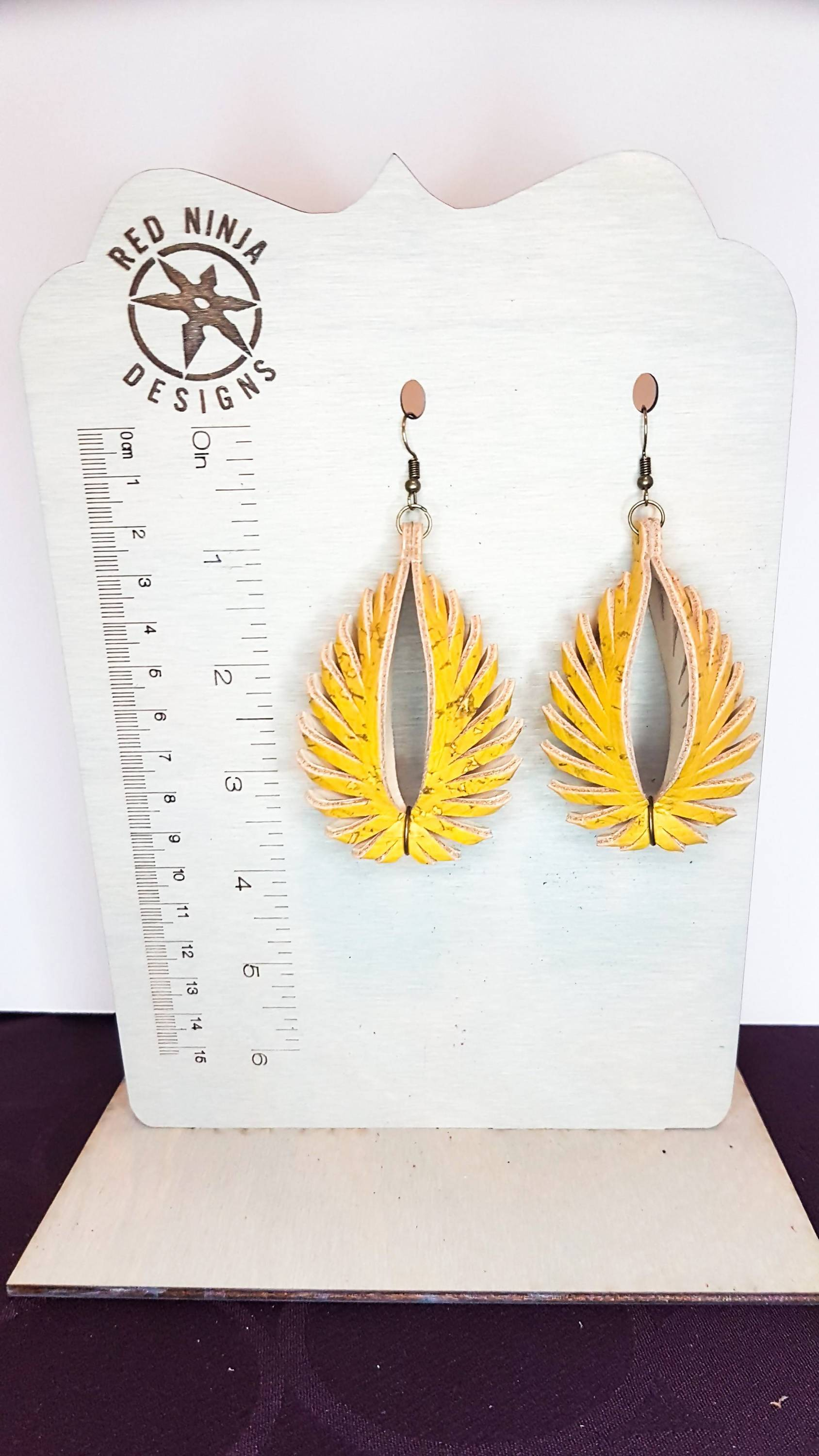 Leather Earrings/ Sculpted Earrings / 3D Triangle Fringe /Geometric Teardrop / Sculpted Teardrop/ Yellow Cork on Leather