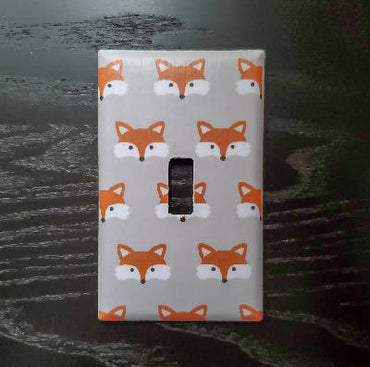 Fancy Handmade Light Switch Cover - Foxes on Grey Background