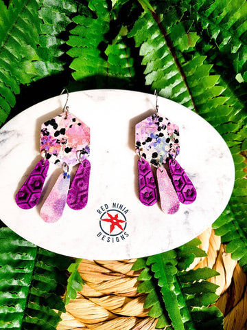 Leather Earrings/ Genuine Leather Hexigon Dangle Earrings / Geometric Earrings/ Dangle / Purple & Pink Watercolor