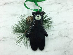 Fused Glass Black Bear Ornament