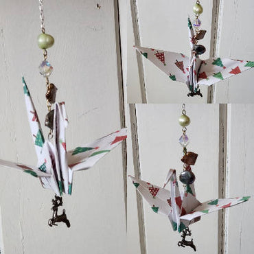 Paper Crane Chain - Christmas Trees and a Reindeer