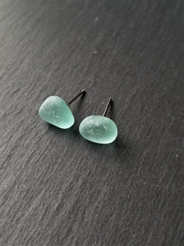 Blue Sea Glass Stud Earrings