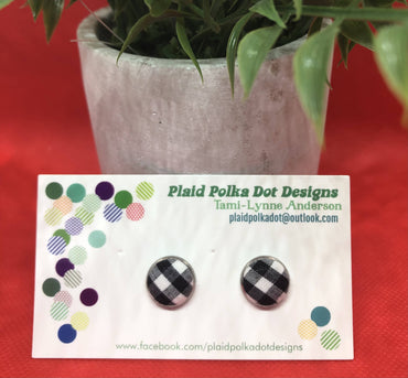 Black & White Gingham Earrings