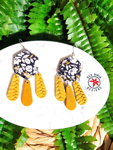 Leather Earrings/ Genuine Leather Hexigon Dangle Earrings / Geometric Earrings/ Yellow Flower Dangle