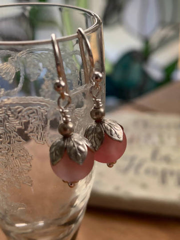 Sterling Silver Cherry Quartz Gemstone Hook Earring: Lightweight, Every day Wear, Pink