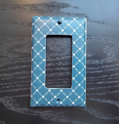 Fancy Handmade Light Switch Cover - Floral Blue Plaid