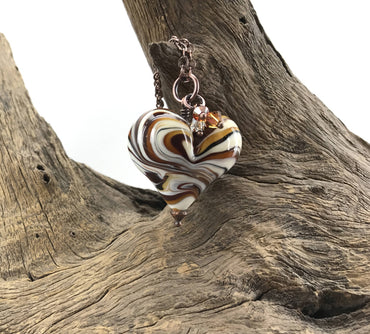"32"" Antique Copper Necklace With Lampwork Blown Glass Heart Pendant - H.2020.10.22.V"