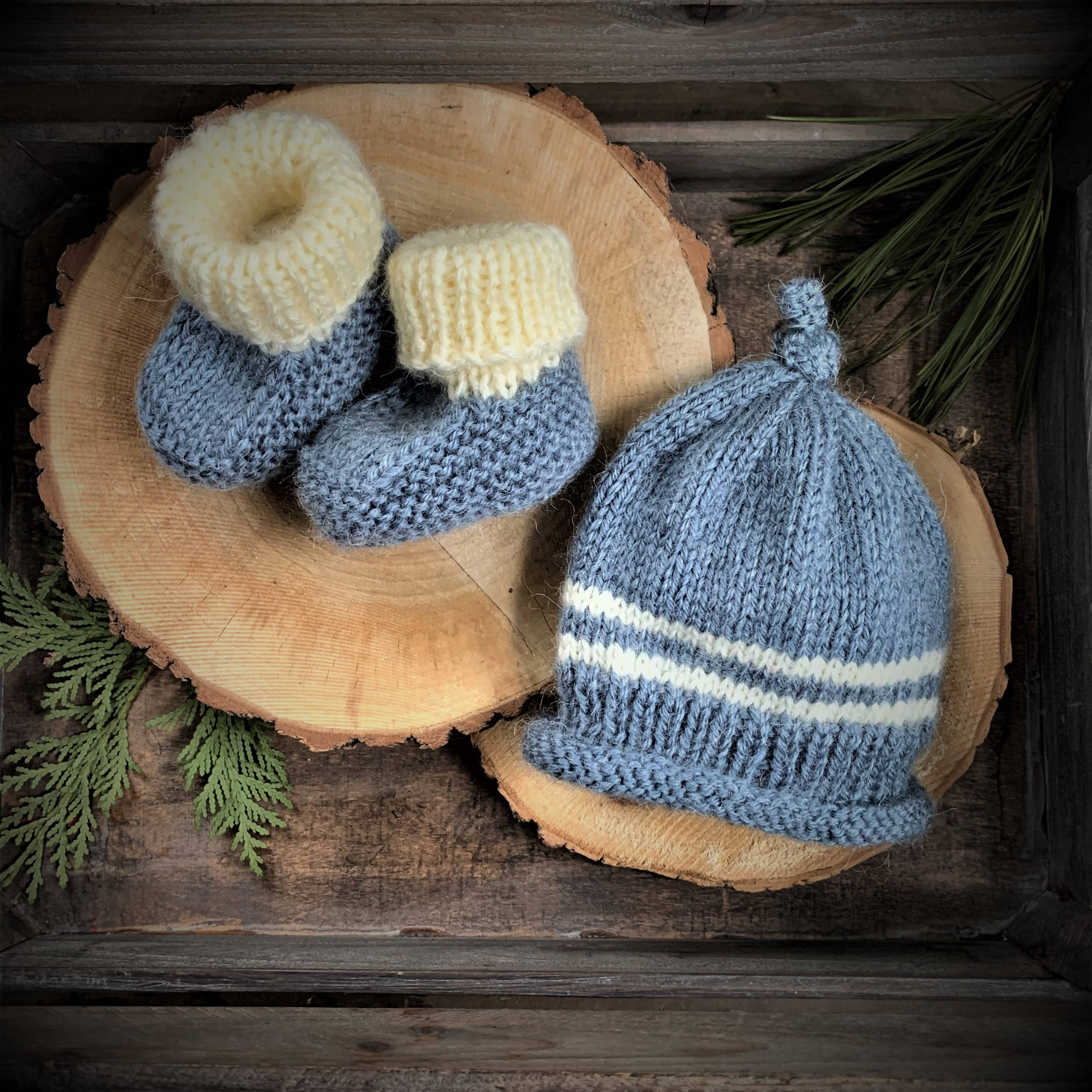 GRAMMY KNITS BEANIE AND BOOTIES - DENIM