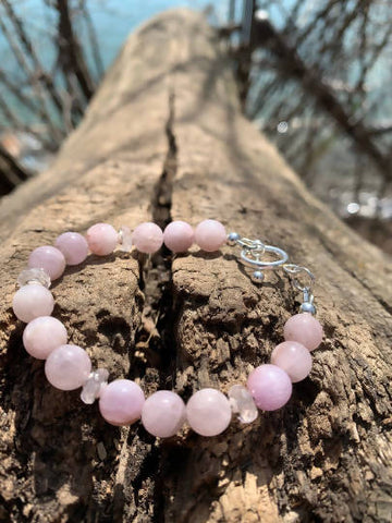 Rose Quartz Rondelle, Kunzite Gemstone, Sterling Silver Toggle Bracelet: Pink, Mauve, Heart and Mind Unconditional Love and Friendship