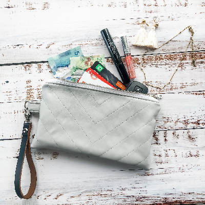 Lucille Clutch - Vegan Leather - Light Grey