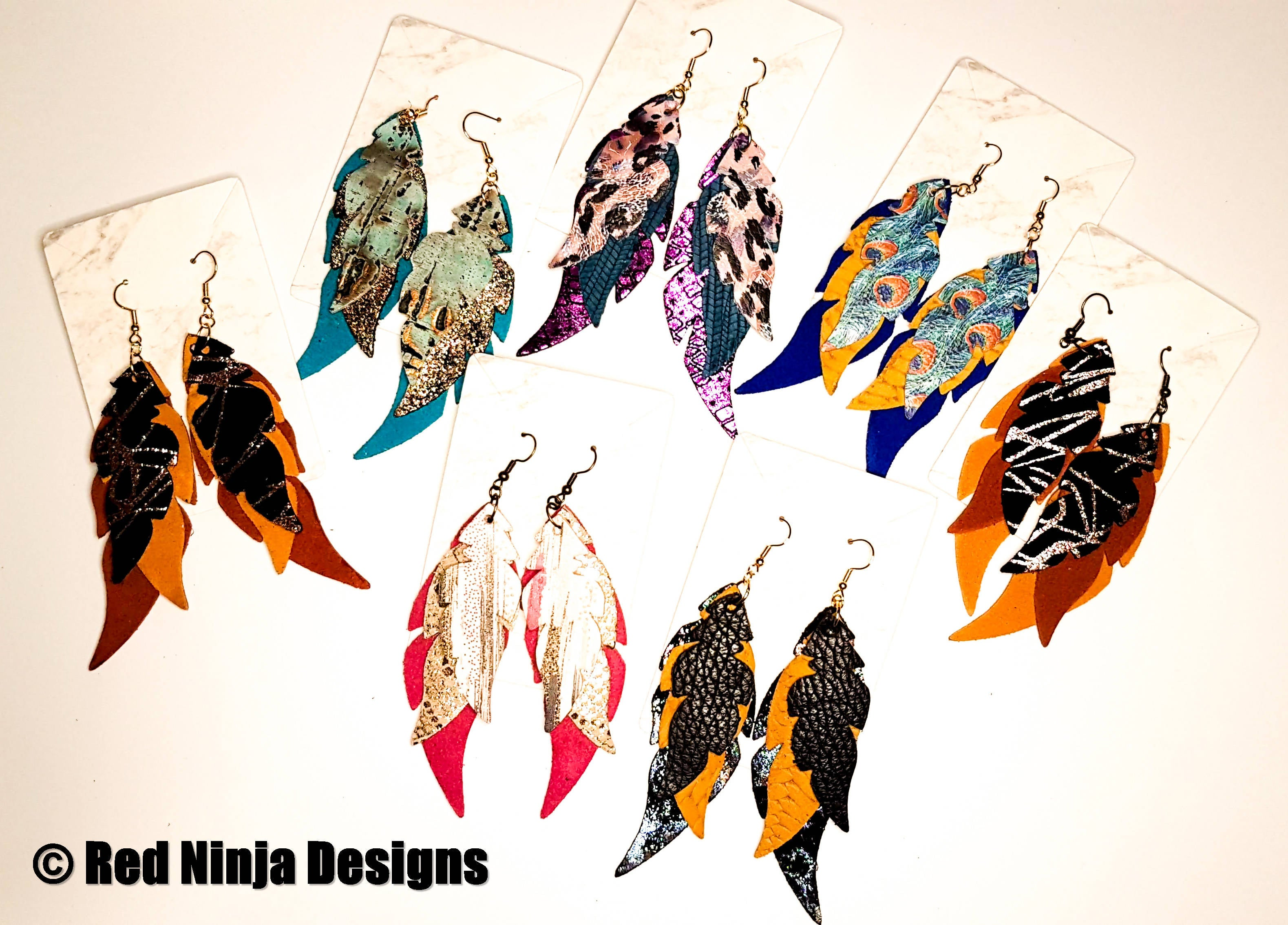 Feather Earring /Layered Leather Earrings / Boho /Bohemian /Modern / Dangle / Western / Gypsy /Nature Lightweight Jewelry