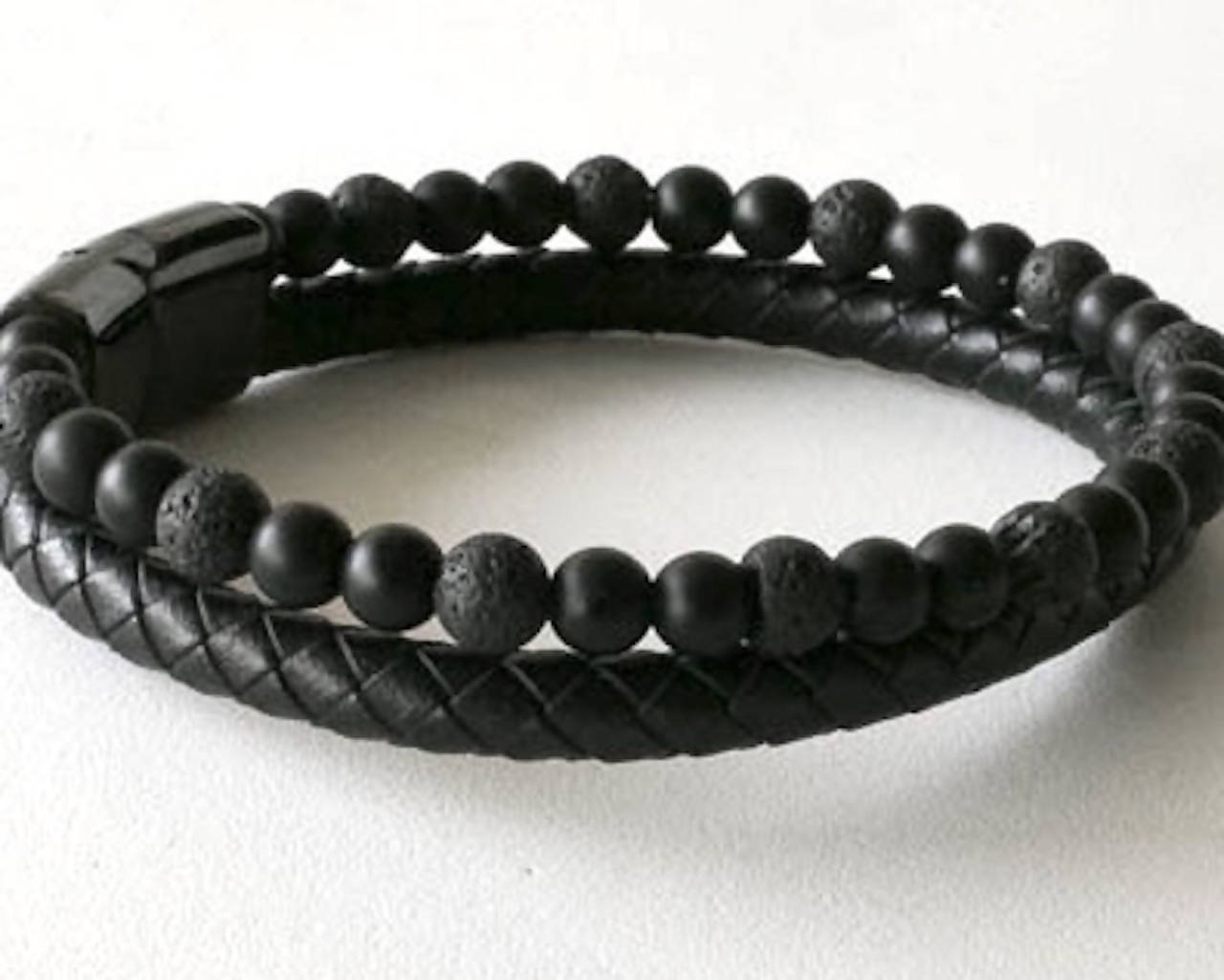 Lava and Leather Men's Bracelet