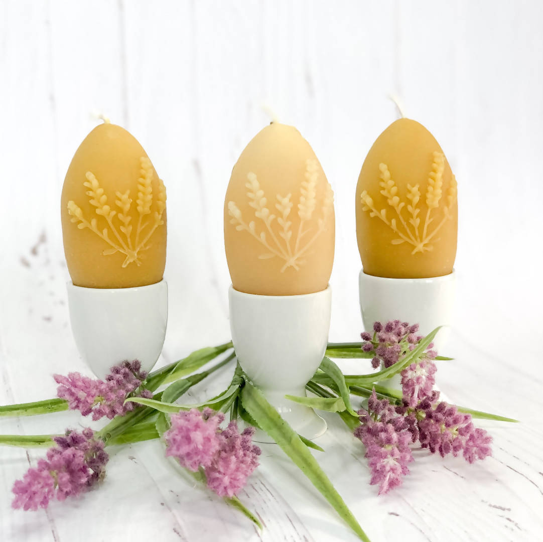 Lavender Egg Beeswax Candle
