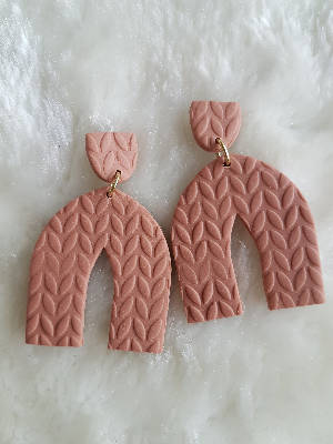 Dusty Rose knit sweater arch earrings
