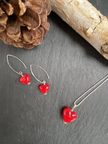 Special Red Glass Heart Earrings