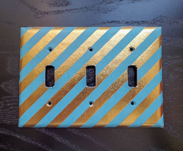Fancy Handmade Light Switch Cover - Turquoise & Gold Foil
