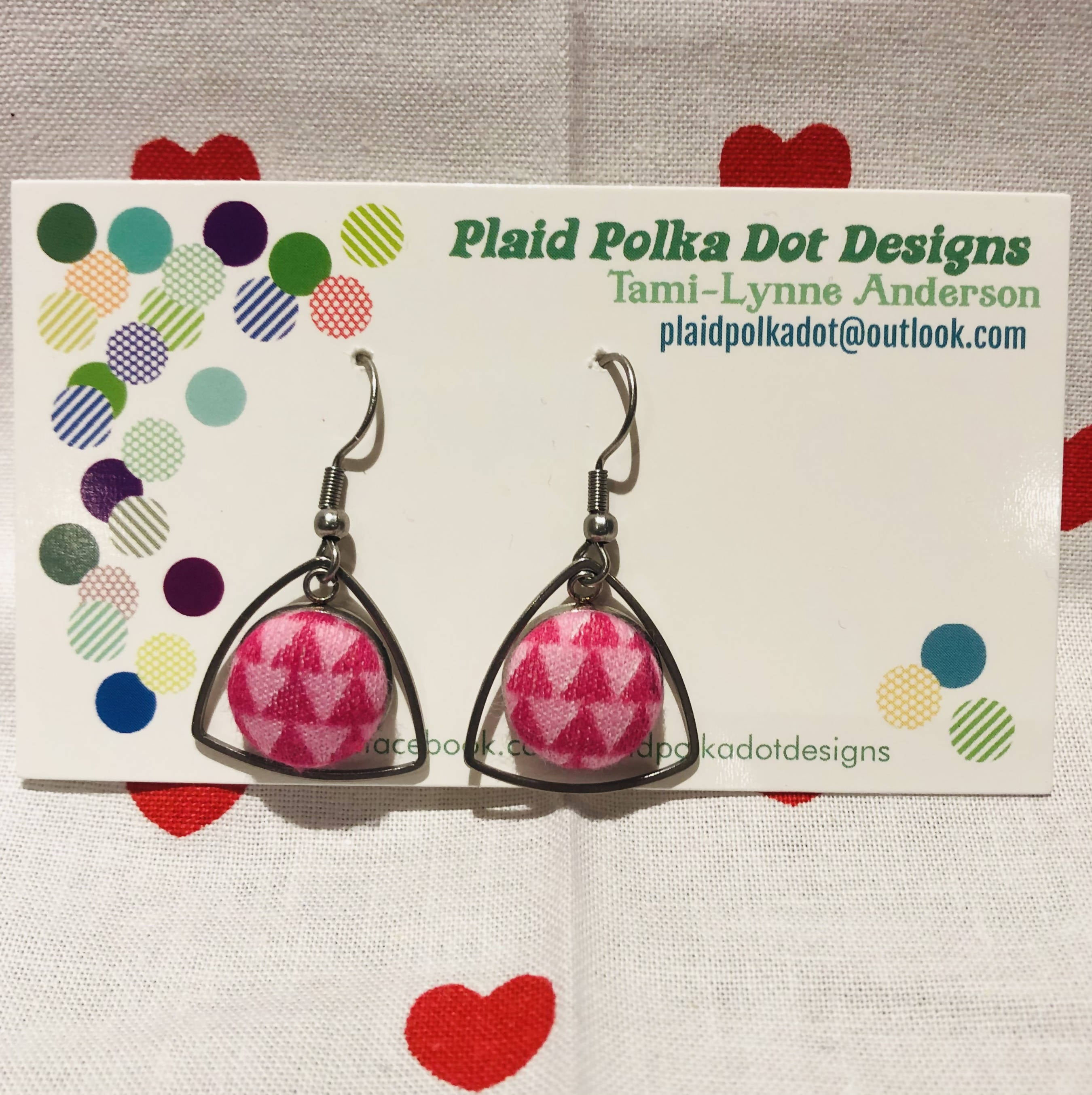 Pink Triangle Valentine Earrings