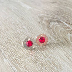 Bullet Stud Earrings - Ruby