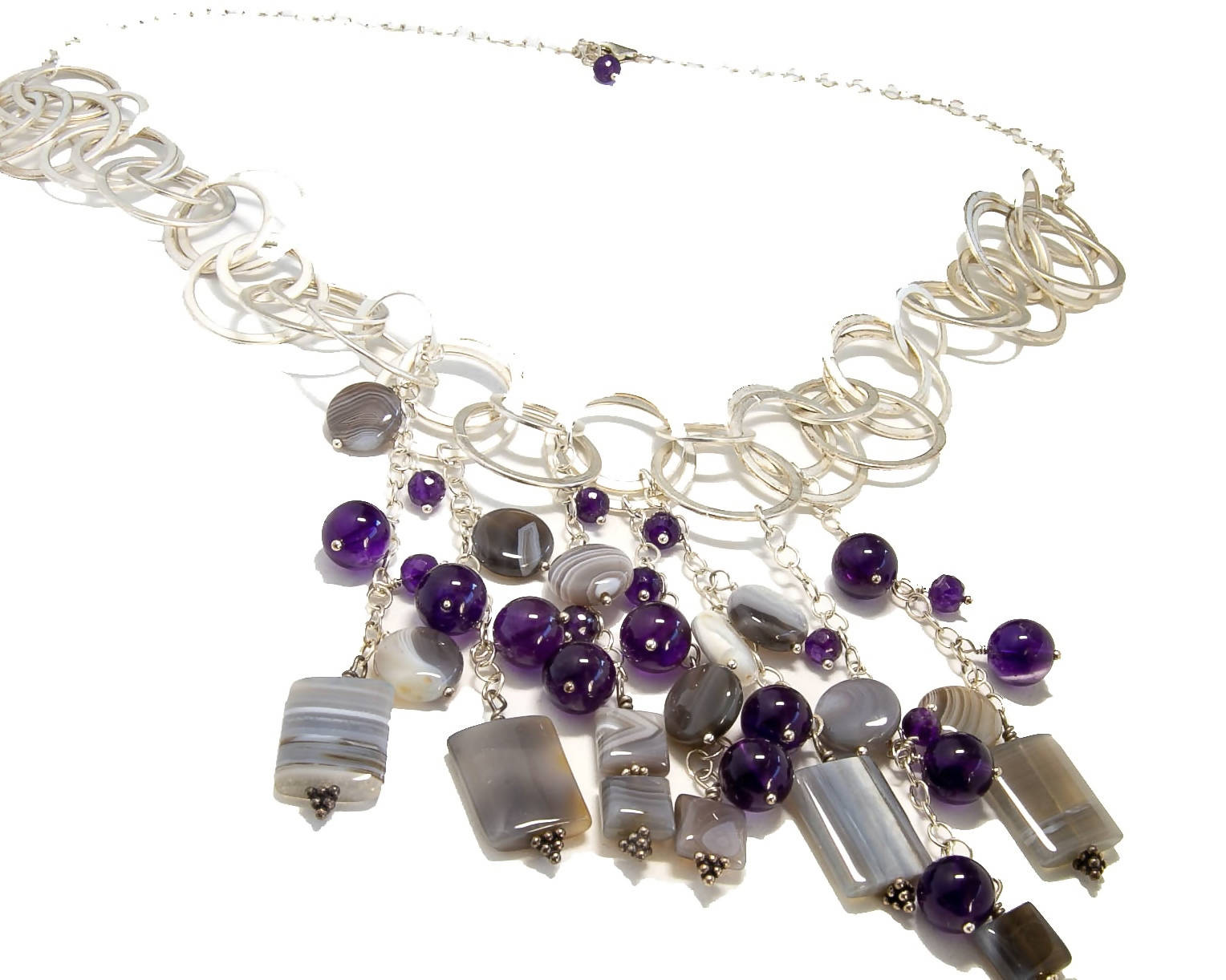 Amethyst and Botswana Agate Bib Necklace