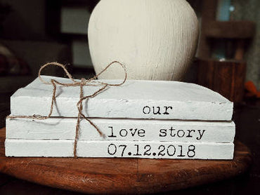Our love story book stack