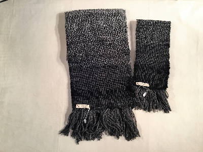 handwoven matching scarves Black and gray