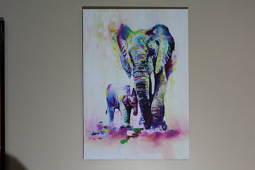 "Abstract canvas print  ""elephant and baby"""