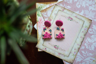 Pink Rose Bouquet Earrings