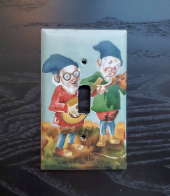 Fancy Handmade Light Switch Cover - Vintage Wallpaper Gnomes