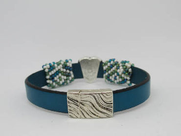 Turquoise leather flat band bracelet with hand beaded turquoise-white sleeves