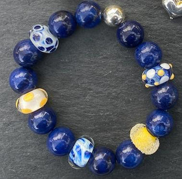Chunky Blue Agate and Glass Stretch Bracelet