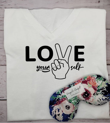 "T-shirt and Eye Pillow Bundle, ""Love Yourself"""