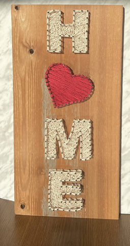 Home with heart string art