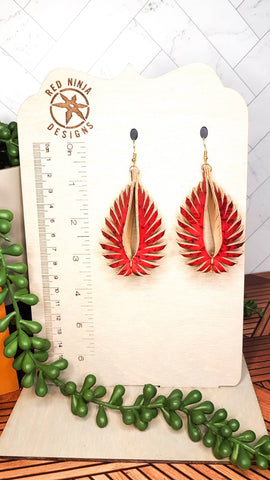 Leather Earrings/ Sculpted Earrings / 3D Triangle Fringe /Geometric Teardrop / Sculpted Teardrop/ Red Cork on Leather