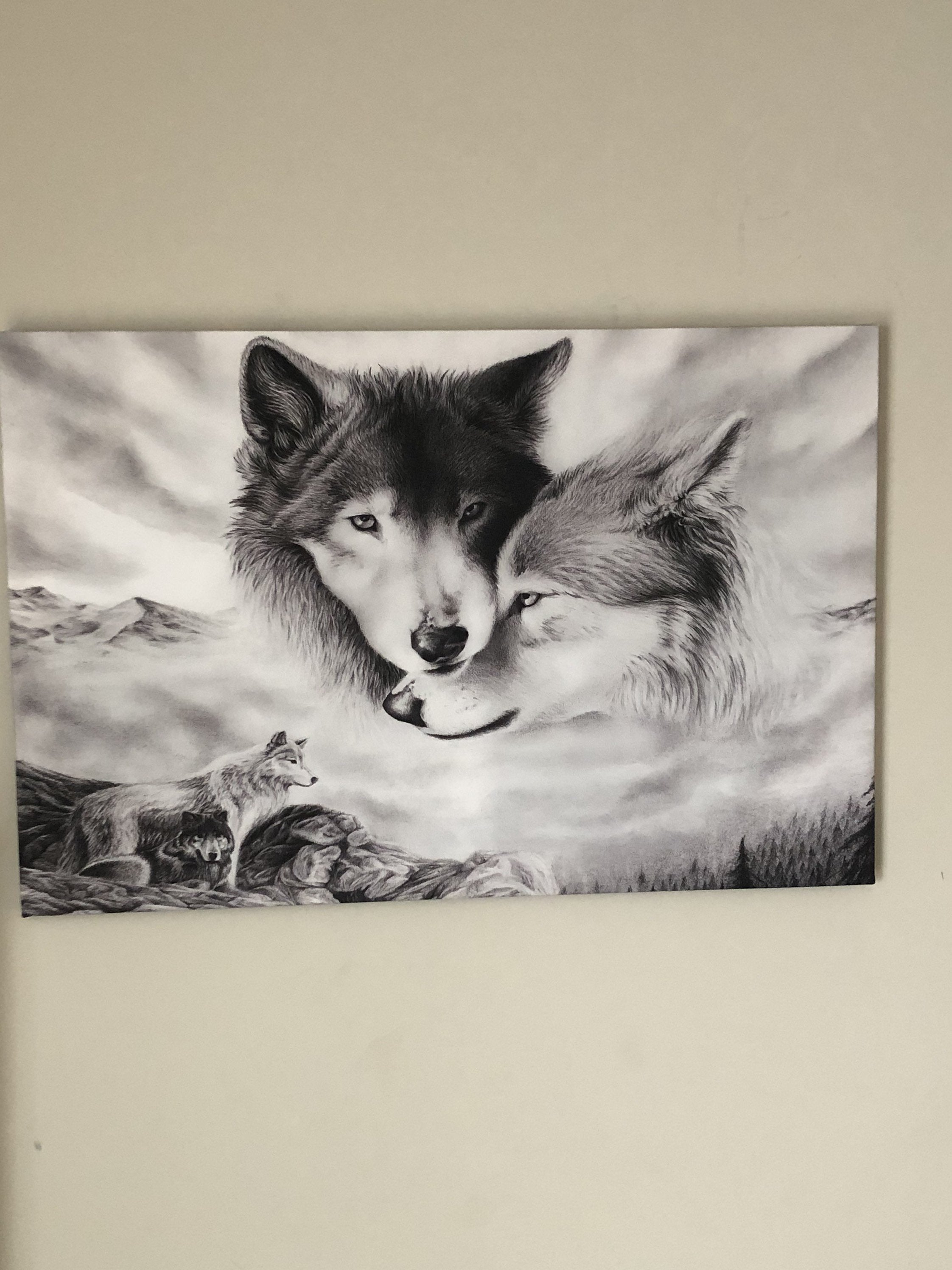 "Canvas print. Wall decor ""wolves"" black and white"