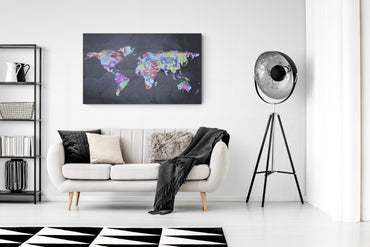 canvas print, wall decor, world map, ready to hang