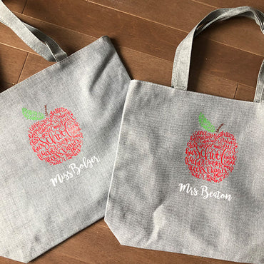 Personalized Canvass Teacher Totes
